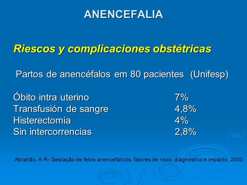 ANENCEFALIA Riescos y complicaciones obstétricas Partos de anencéfalos em 80 pacientes (Unifesp) Partos de anencéfalos em 80 pacientes (Unifesp) Óbito