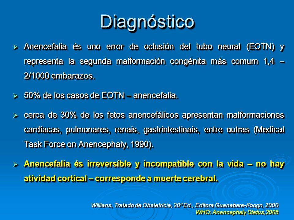 DiagnósticoDiagnóstico Anencefalia és uno error de oclusión del tubo neural (EOTN) y representa la segunda malformación congénita más comum 1,4 – 2/10