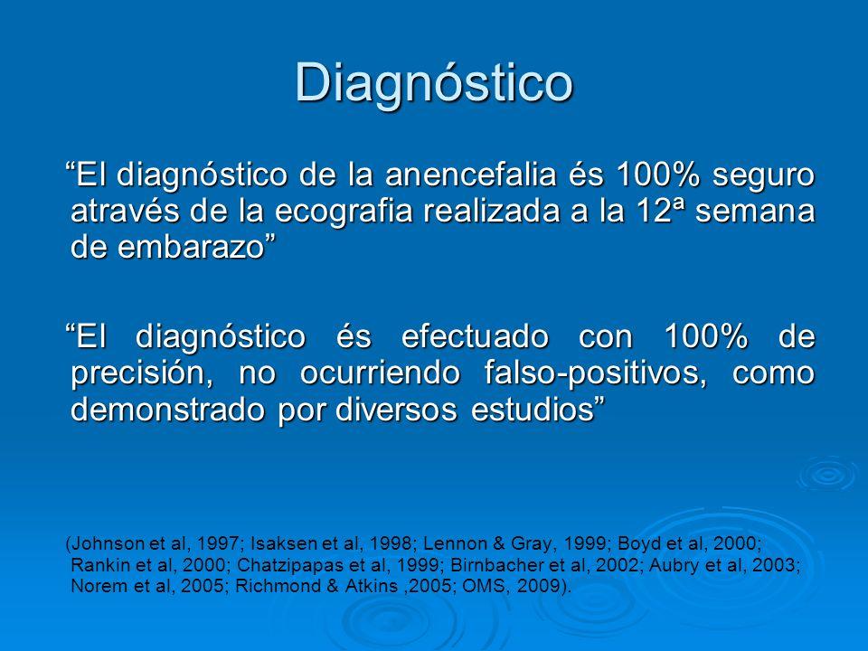 Diagnóstico El diagnóstico de la anencefalia és 100% seguro através de la ecografia realizada a la 12ª semana de embarazo El diagnóstico de la anencef