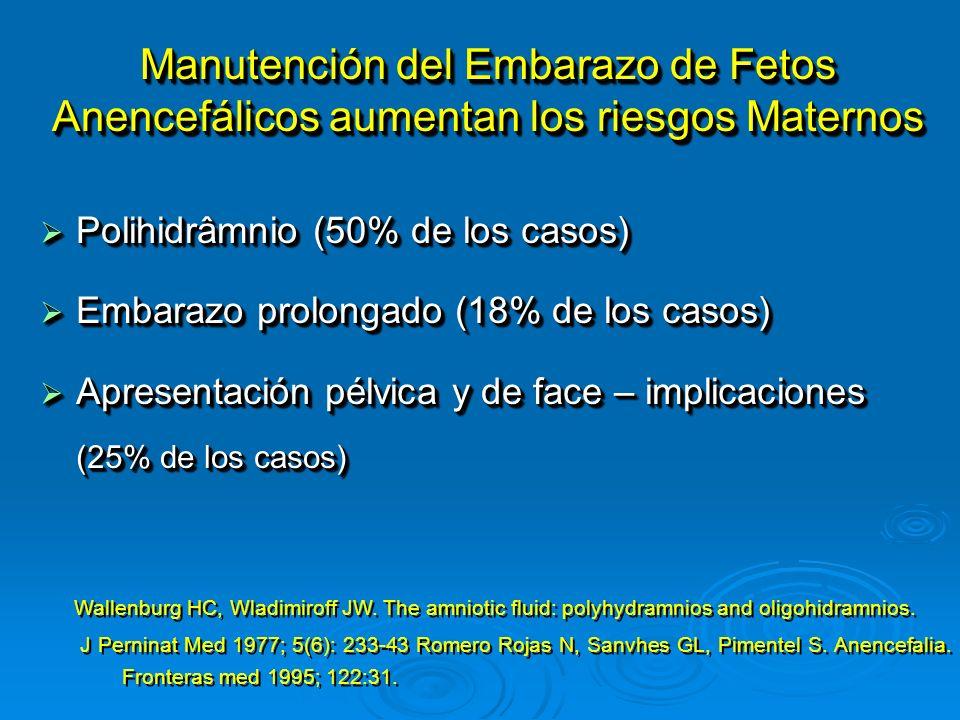 Manutención del Embarazo de Fetos Anencefálicos aumentan los riesgos Maternos Polihidrâmnio (50% de los casos) Polihidrâmnio (50% de los casos) Embara