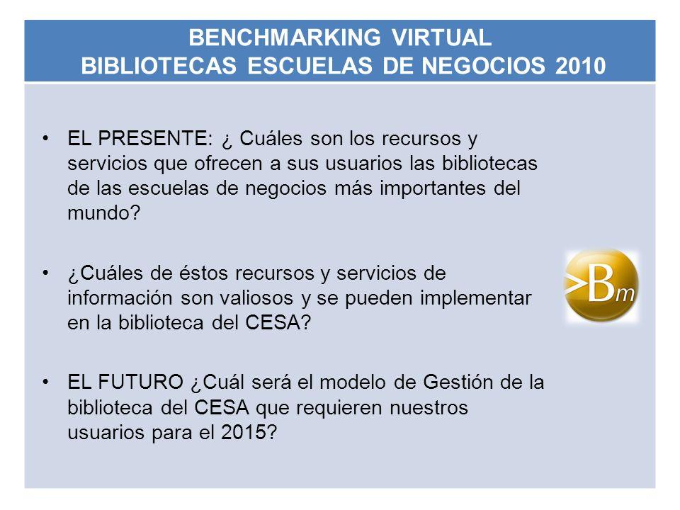 BENCHMARKING VIRTUAL BIBLIOTECAS ESCUELAS DE NEGOCIOS 2010 EL PRESENTE: ¿ Cuáles son los recursos y servicios que ofrecen a sus usuarios las bibliotec