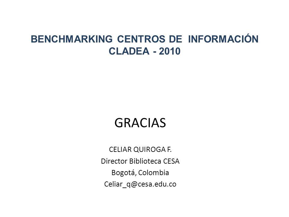 BENCHMARKING CENTROS DE INFORMACIÓN CLADEA - 2010 GRACIAS CELIAR QUIROGA F. Director Biblioteca CESA Bogotá, Colombia Celiar_q@cesa.edu.co