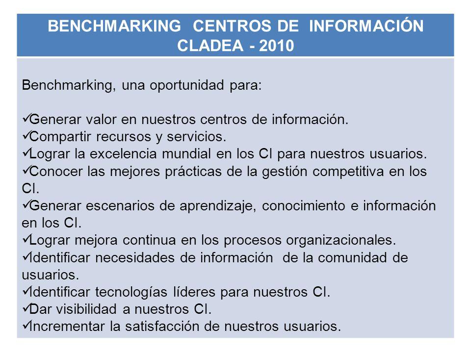 BENCHMARKING CENTROS DE INFORMACIÓN CLADEA - 2010 Benchmarking, una oportunidad para: Generar valor en nuestros centros de información. Compartir recu