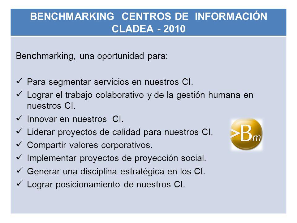 BENCHMARKING CENTROS DE INFORMACIÓN CLADEA - 2010 Benchmarking, una oportunidad para: Para segmentar servicios en nuestros CI. Lograr el trabajo colab