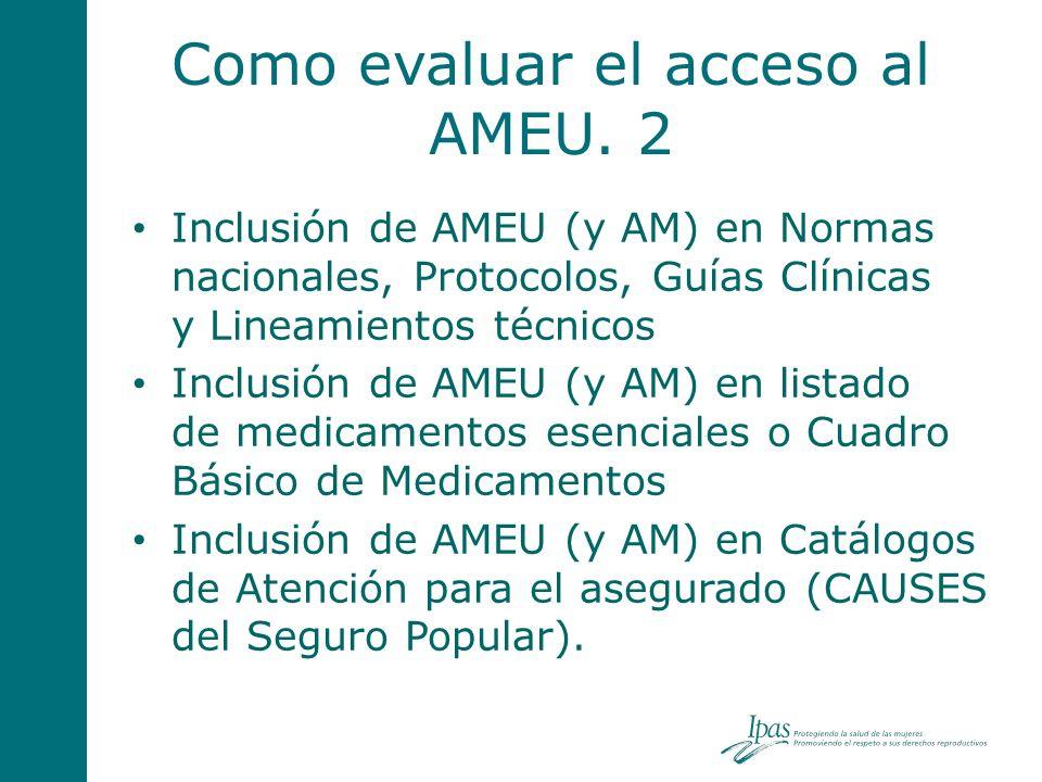 Como evaluar el acceso al AMEU. 2 Inclusión de AMEU (y AM) en Normas nacionales, Protocolos, Guías Clínicas y Lineamientos técnicos Inclusión de AMEU