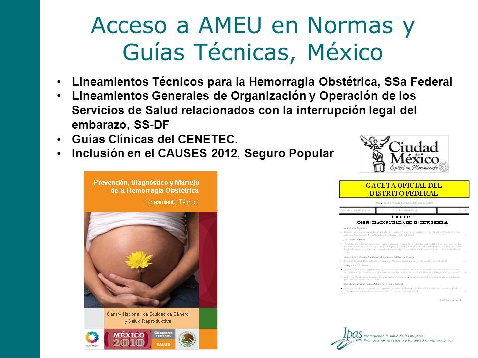 Acceso a AMEU en Normas y Guías Técnicas, México Lineamientos Técnicos para la Hemorragia Obstétrica, SSa Federal Lineamientos Generales de Organizaci