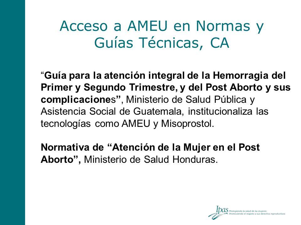 Acceso a AMEU en Normas y Guías Técnicas, CA Guía para la atención integral de la Hemorragia del Primer y Segundo Trimestre, y del Post Aborto y sus c