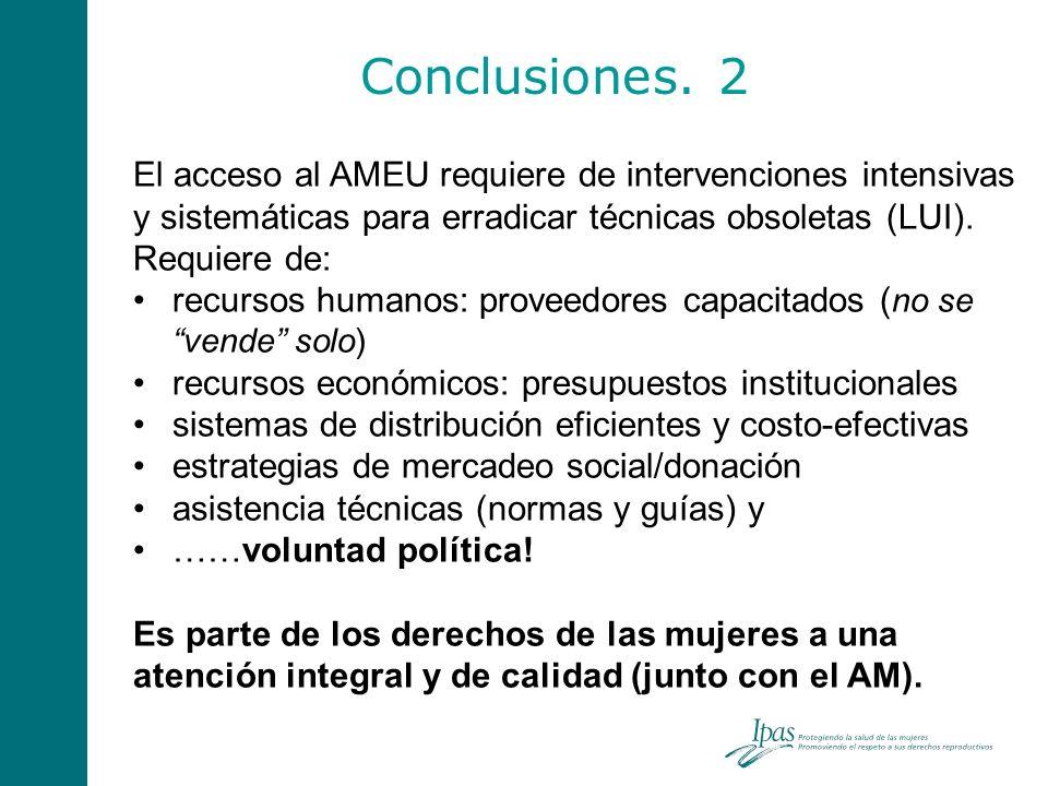 Conclusiones. 2 El acceso al AMEU requiere de intervenciones intensivas y sistemáticas para erradicar técnicas obsoletas (LUI). Requiere de: recursos