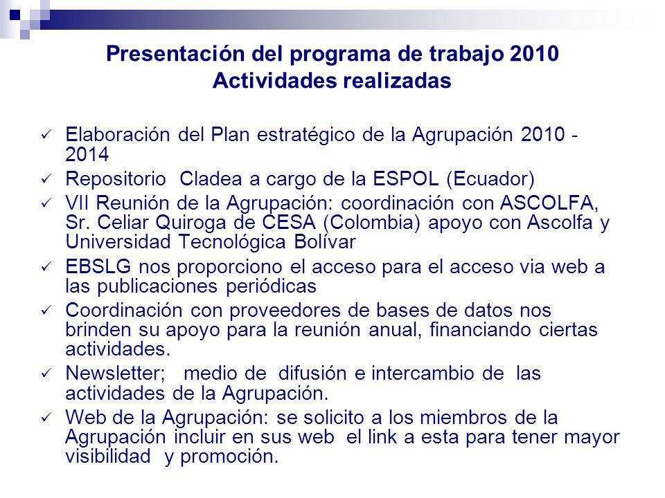 Presentación del programa de trabajo 2010 Actividades realizadas Elaboración del Plan estratégico de la Agrupación 2010 - 2014 Repositorio Cladea a ca