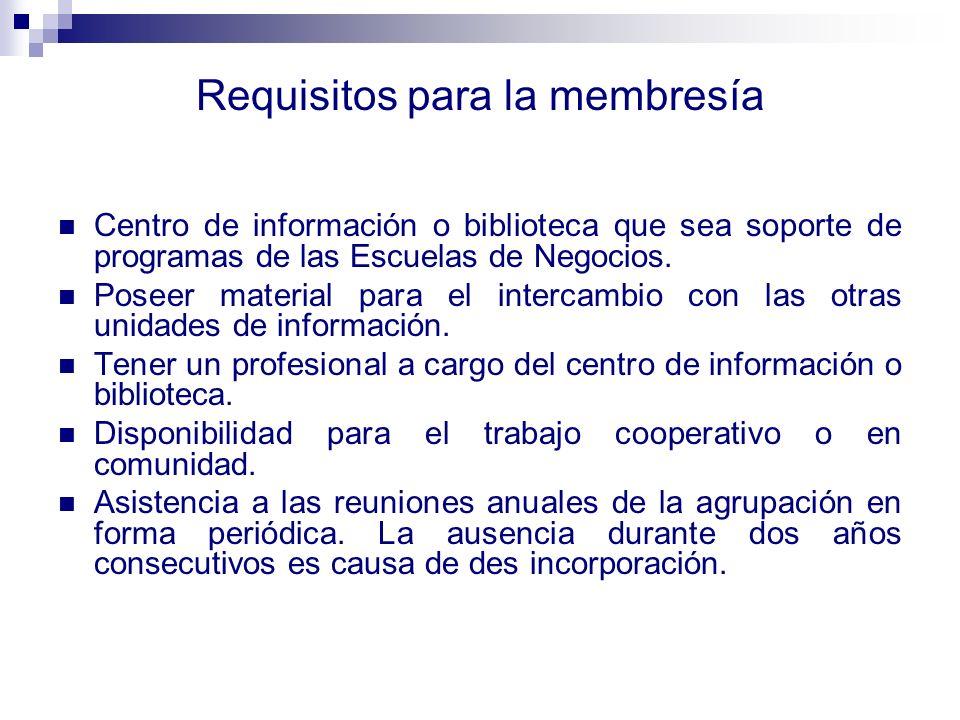 Requisitos para la membresía Centro de información o biblioteca que sea soporte de programas de las Escuelas de Negocios. Poseer material para el inte