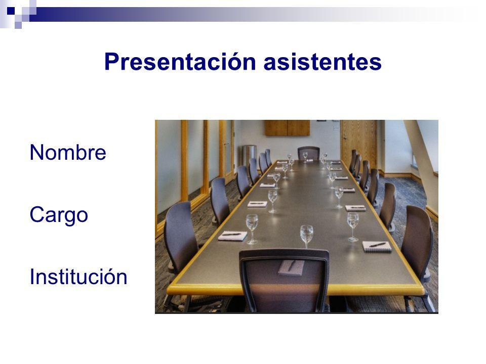 Presentación asistentes Nombre Cargo Institución