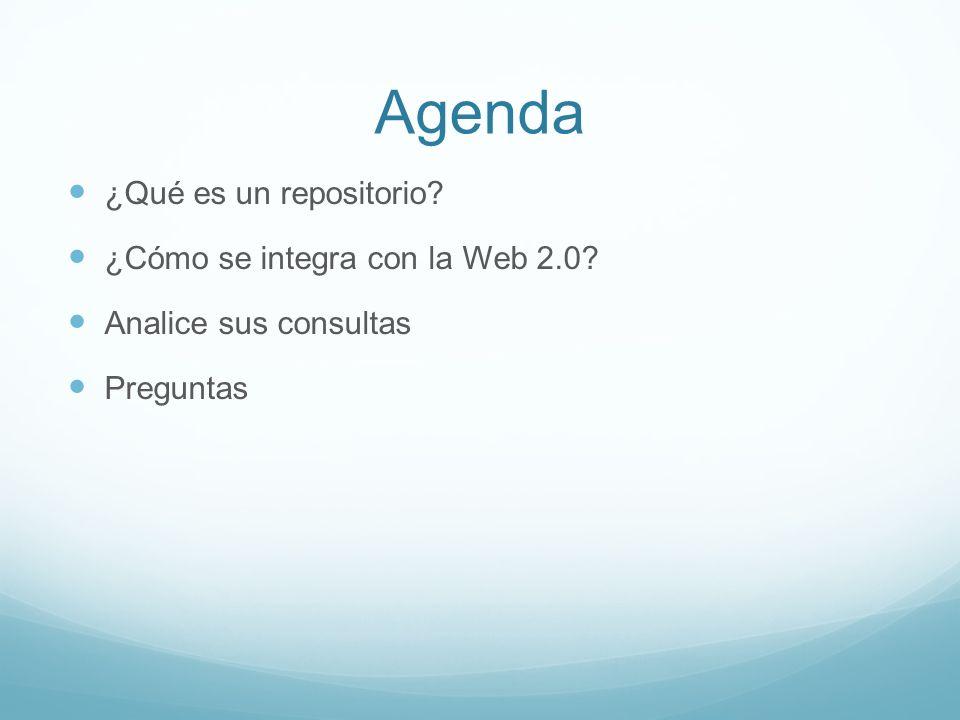 Agenda ¿Qué es un repositorio ¿Cómo se integra con la Web 2.0 Analice sus consultas Preguntas