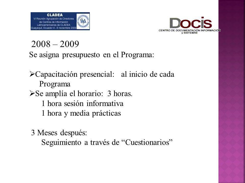 2008 – 2009 Se asigna presupuesto en el Programa: Capacitación presencial: al inicio de cada Programa Se amplía el horario: 3 horas. 1 hora sesión inf