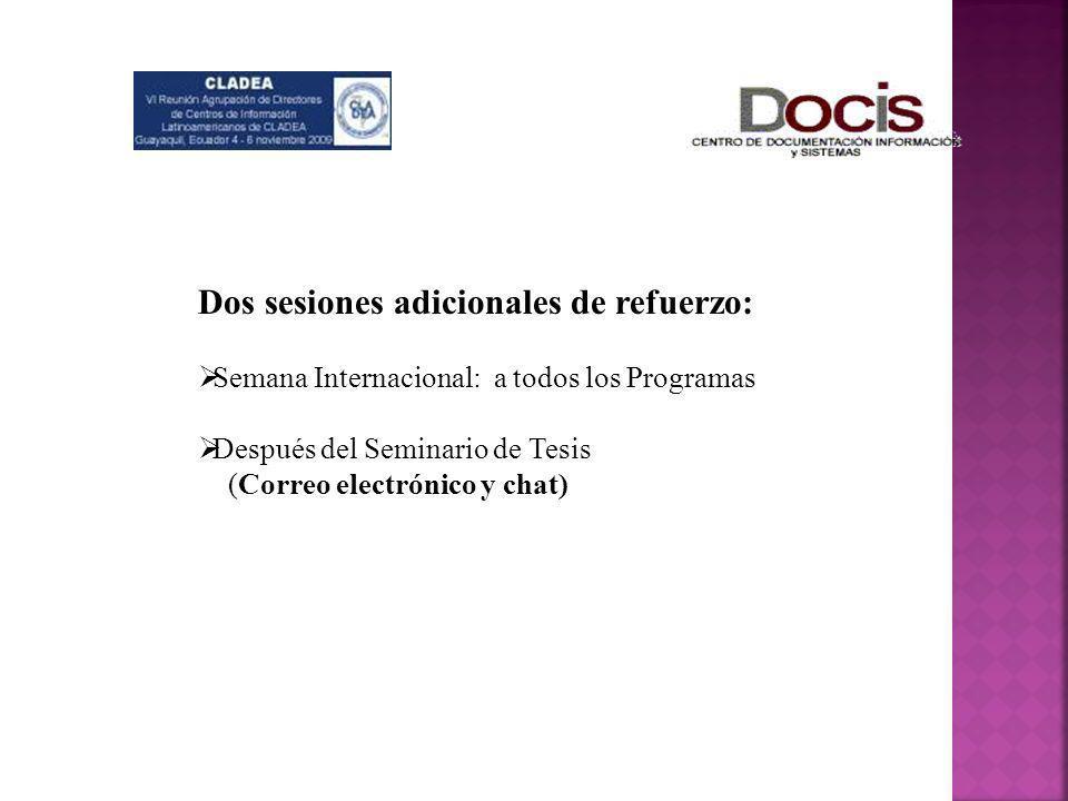 Dos sesiones adicionales de refuerzo: Semana Internacional: a todos los Programas Después del Seminario de Tesis (Correo electrónico y chat)