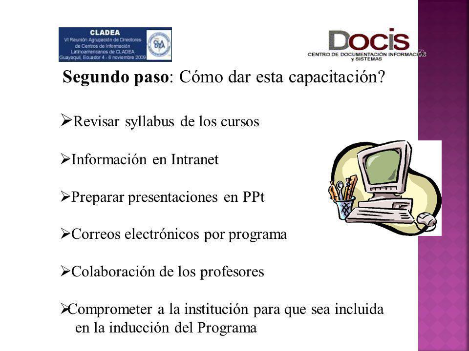 Segundo paso: Cómo dar esta capacitación? Revisar syllabus de los cursos Información en Intranet Preparar presentaciones en PPt Correos electrónicos p