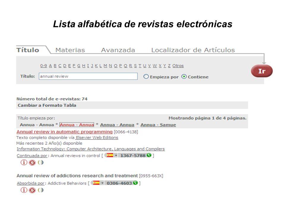 Lista alfabética de revistas electrónicas