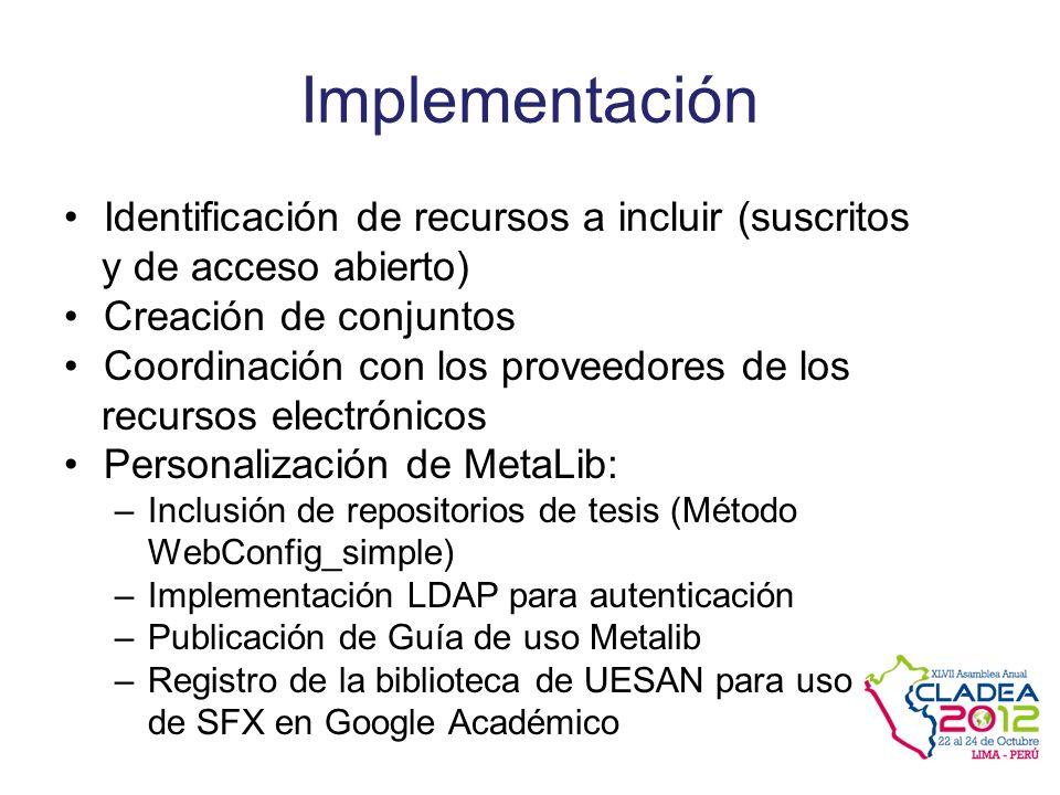Implementación Identificación de recursos a incluir (suscritos y de acceso abierto) Creación de conjuntos Coordinación con los proveedores de los recursos electrónicos Personalización de MetaLib: –Inclusión de repositorios de tesis (Método WebConfig_simple) –Implementación LDAP para autenticación –Publicación de Guía de uso Metalib –Registro de la biblioteca de UESAN para uso de SFX en Google Académico