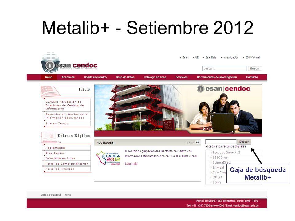 Metalib+ - Setiembre 2012 Caja de búsqueda Metalib+