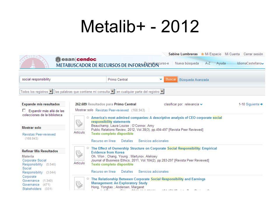 Metalib+ - 2012