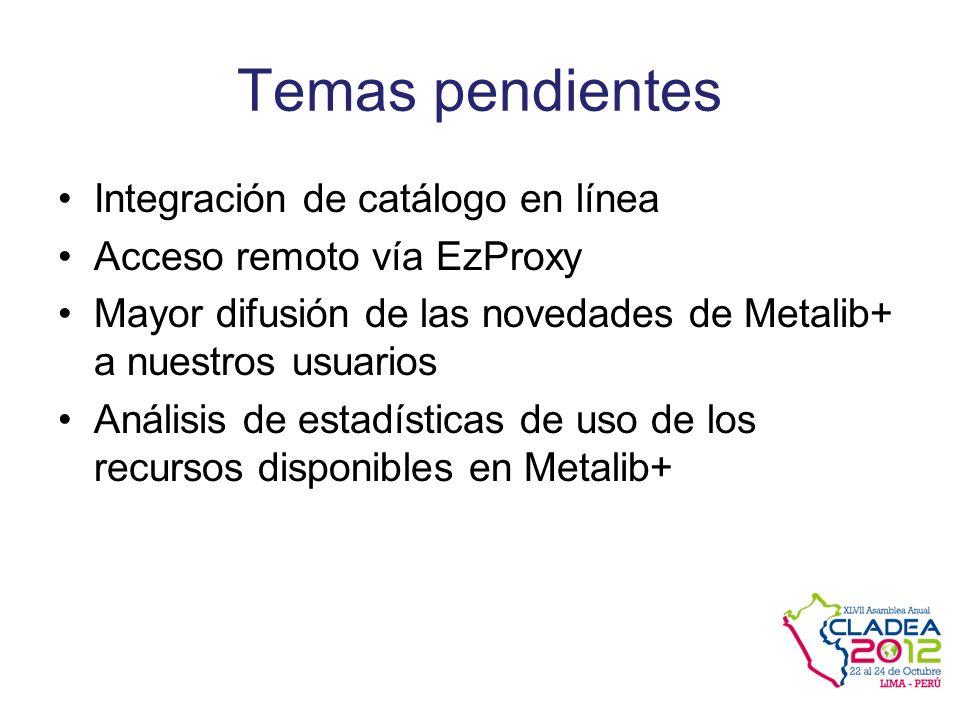 Temas pendientes Integración de catálogo en línea Acceso remoto vía EzProxy Mayor difusión de las novedades de Metalib+ a nuestros usuarios Análisis de estadísticas de uso de los recursos disponibles en Metalib+