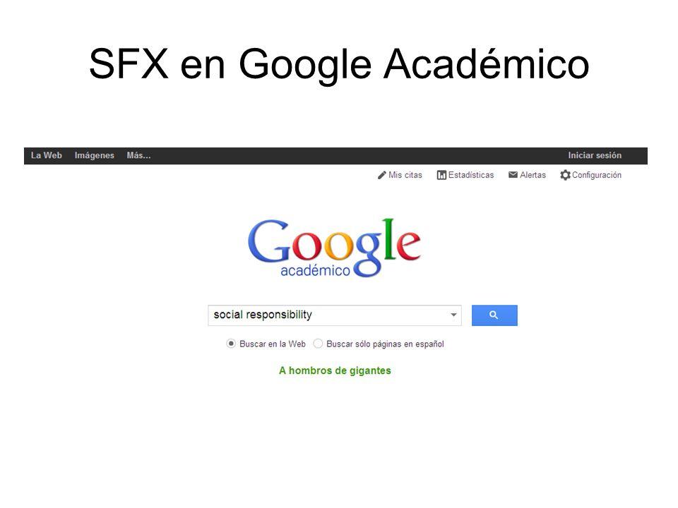 SFX en Google Académico