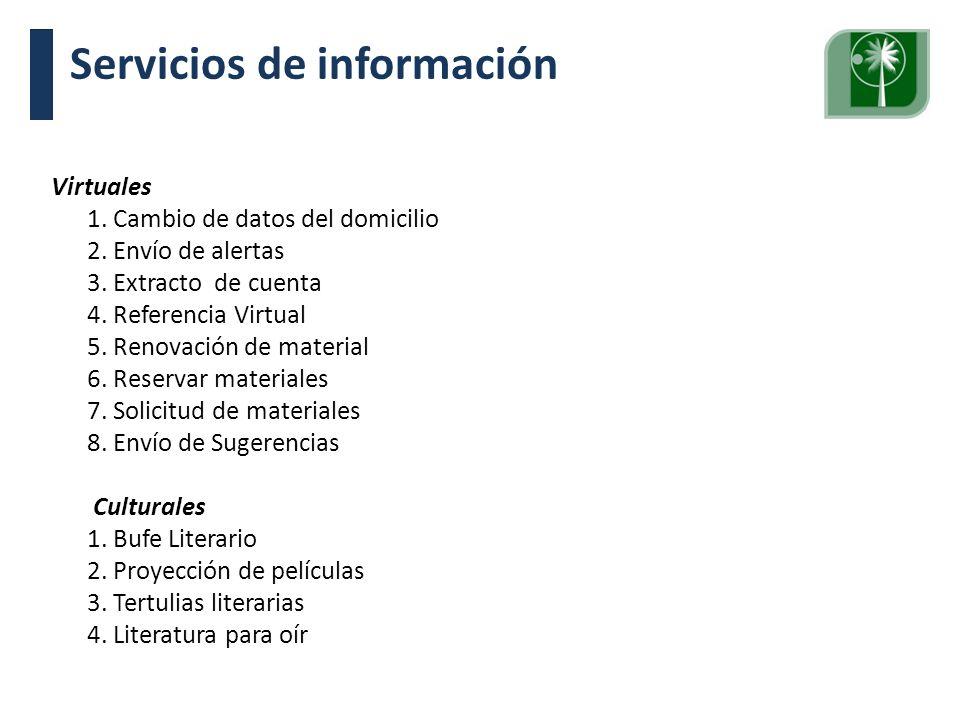 Visita Pares Académicos. 10, 11 y 12 de junio de 2009. Virtuales 1. Cambio de datos del domicilio 2. Envío de alertas 3. Extracto de cuenta 4. Referen