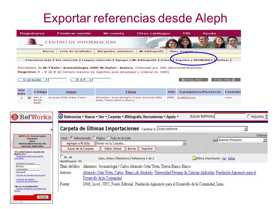 Exportar referencias desde Aleph