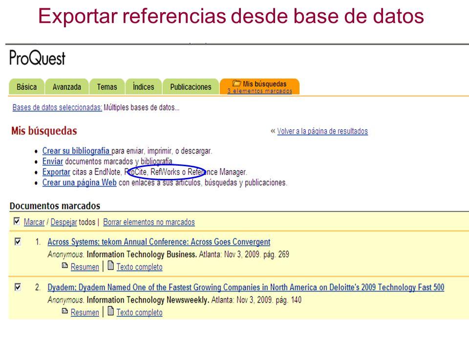 Exportar referencias desde base de datos