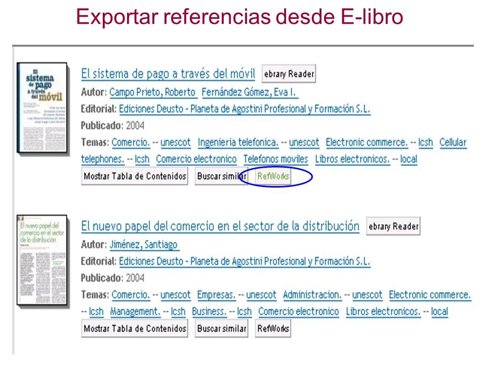 Exportar referencias desde E-libro