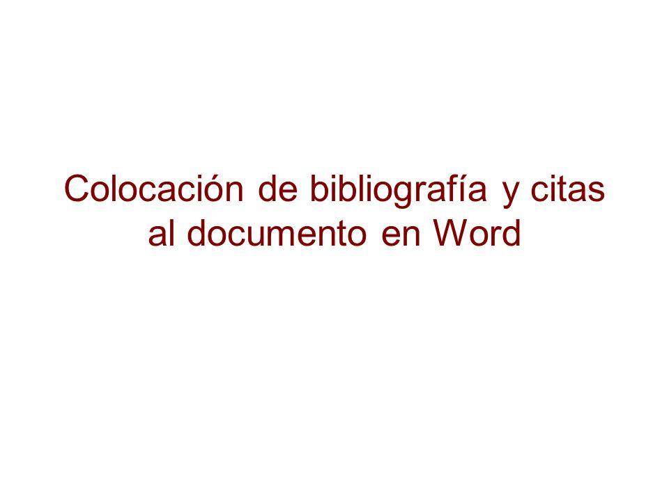 Colocación de bibliografía y citas al documento en Word