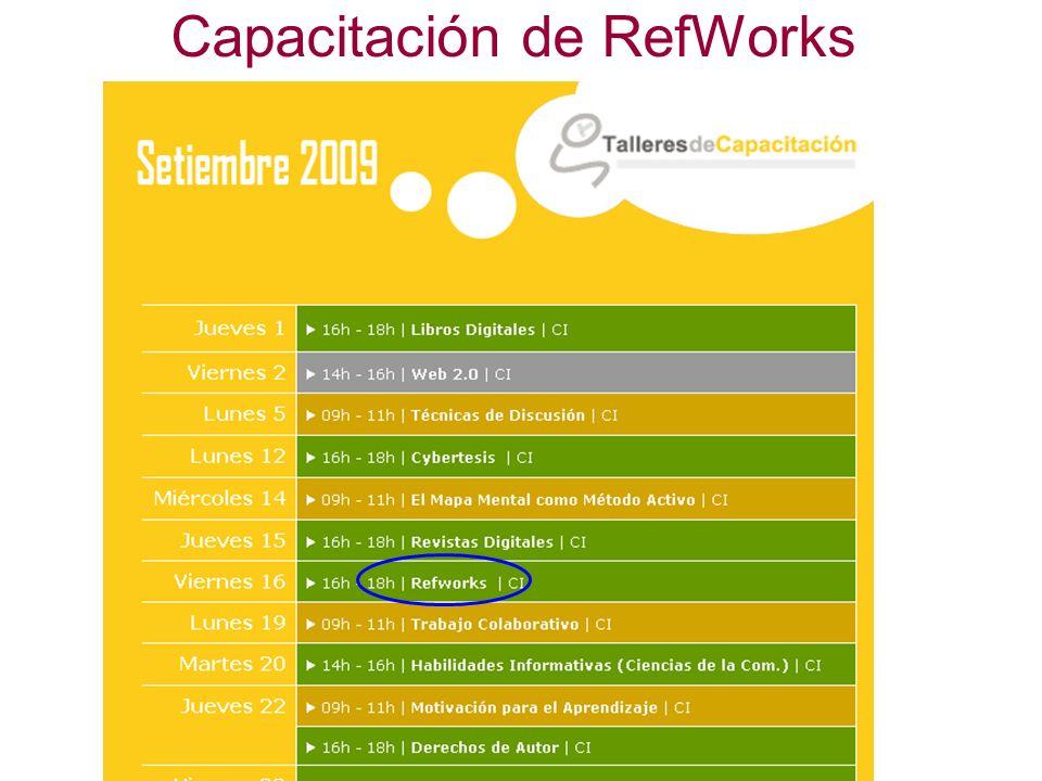Capacitación de RefWorks
