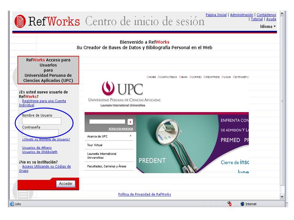 Utilidades del RefWorks Crear, editar, organizar y compartir sus referencias bibliográficas.