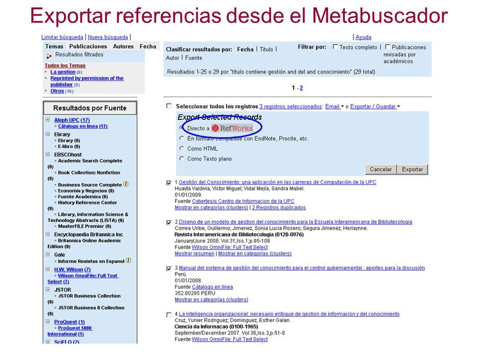 Exportar referencias desde el Metabuscador