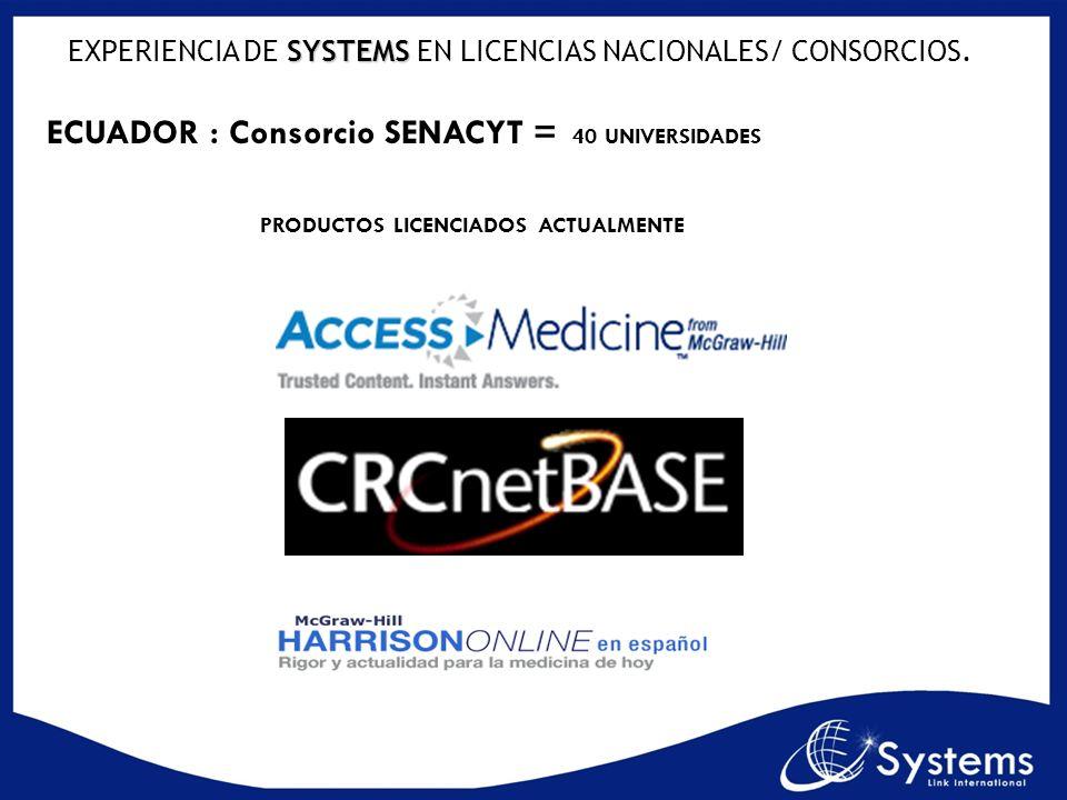 SYSTEMS EXPERIENCIA DE SYSTEMS EN LICENCIAS NACIONALES/ CONSORCIOS. ECUADOR : Consorcio SENACYT = 40 UNIVERSIDADES PRODUCTOS LICENCIADOS ACTUALMENTE