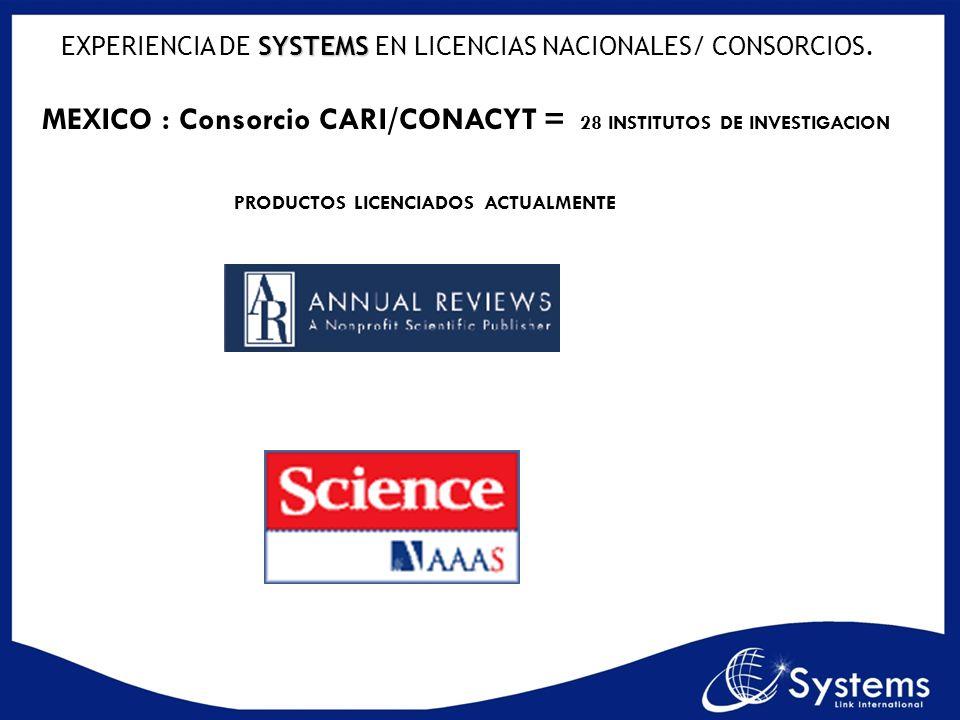 SYSTEMS EXPERIENCIA DE SYSTEMS EN LICENCIAS NACIONALES/ CONSORCIOS. MEXICO : Consorcio CARI/CONACYT = 28 INSTITUTOS DE INVESTIGACION PRODUCTOS LICENCI