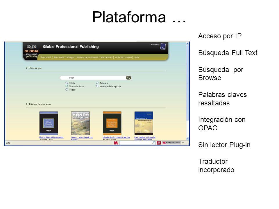 Plataforma … Acceso por IP Búsqueda Full Text Búsqueda por Browse Palabras claves resaltadas Integración con OPAC Sin lector Plug-in Traductor incorpo