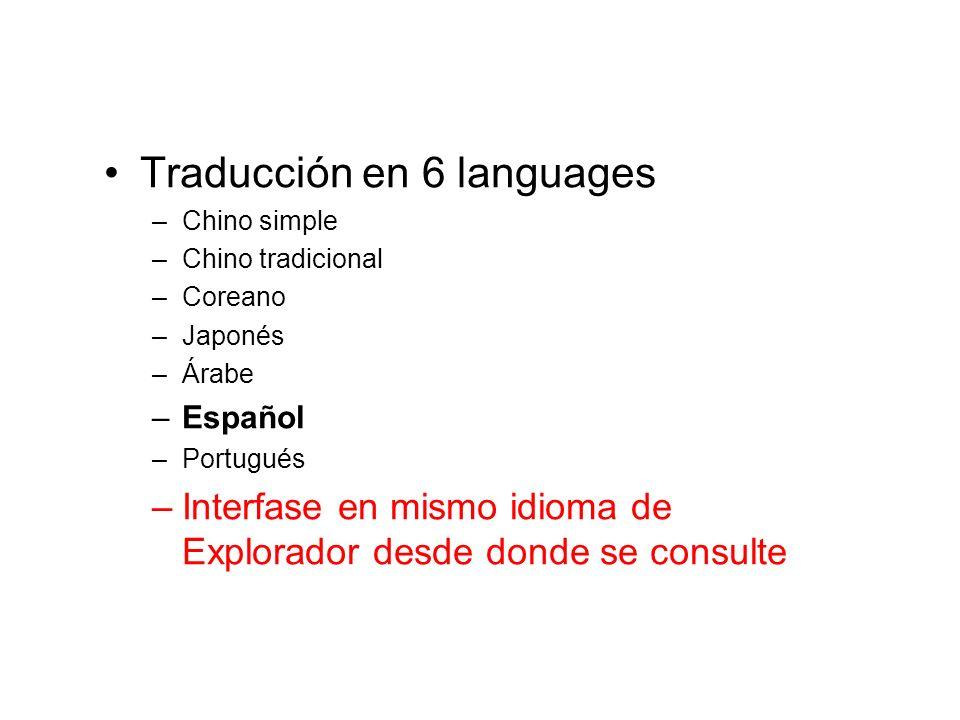 Traducción en 6 languages –Chino simple –Chino tradicional –Coreano –Japonés –Árabe –Español –Portugués –Interfase en mismo idioma de Explorador desde