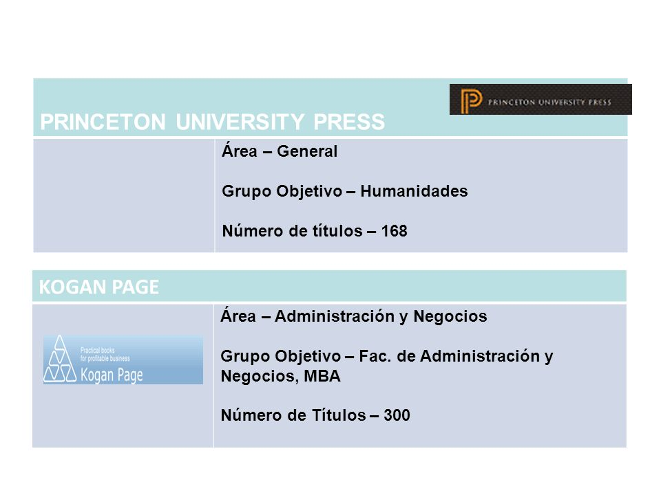 PRINCETON UNIVERSITY PRESS Área – General Grupo Objetivo – Humanidades Número de títulos – 168 KOGAN PAGE Área – Administración y Negocios Grupo Objet