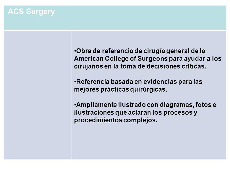 ACS Surgery Obra de referencia de cirugía general de la American College of Surgeons para ayudar a los cirujanos en la toma de decisiones críticas. Re