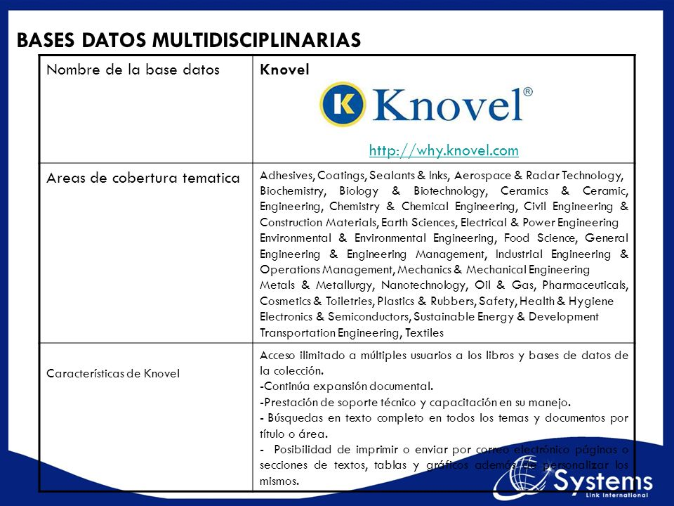 BASES DATOS MULTIDISCIPLINARIAS Nombre de la base datosKnovel http://why.knovel.com Areas de cobertura tematica Adhesives, Coatings, Sealants & Inks,