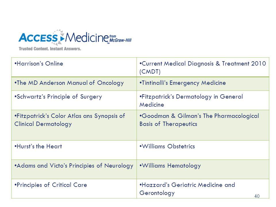40 Harrisons OnlineCurrent Medical Diagnosis & Treatment 2010 (CMDT) The MD Anderson Manual of OncologyTintinallis Emergency Medicine Schwartzs Princi