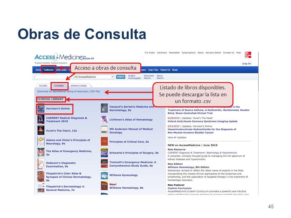 Obras de Consulta 45 Acceso a obras de consulta Listado de libros disponibles. Se puede descargar la lista en un formato.csv