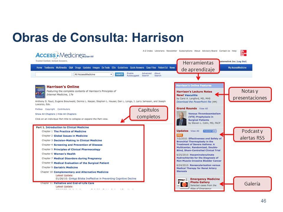 Obras de Consulta: Harrison 46 Capítulos completos Herramientas de aprendizaje Notas y presentaciones Podcast y alertas RSS Galería