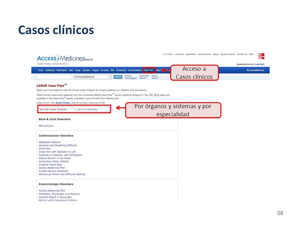 58 Acceso a Casos clínicos Casos clínicos Por órganos y sistemas y por especialidad