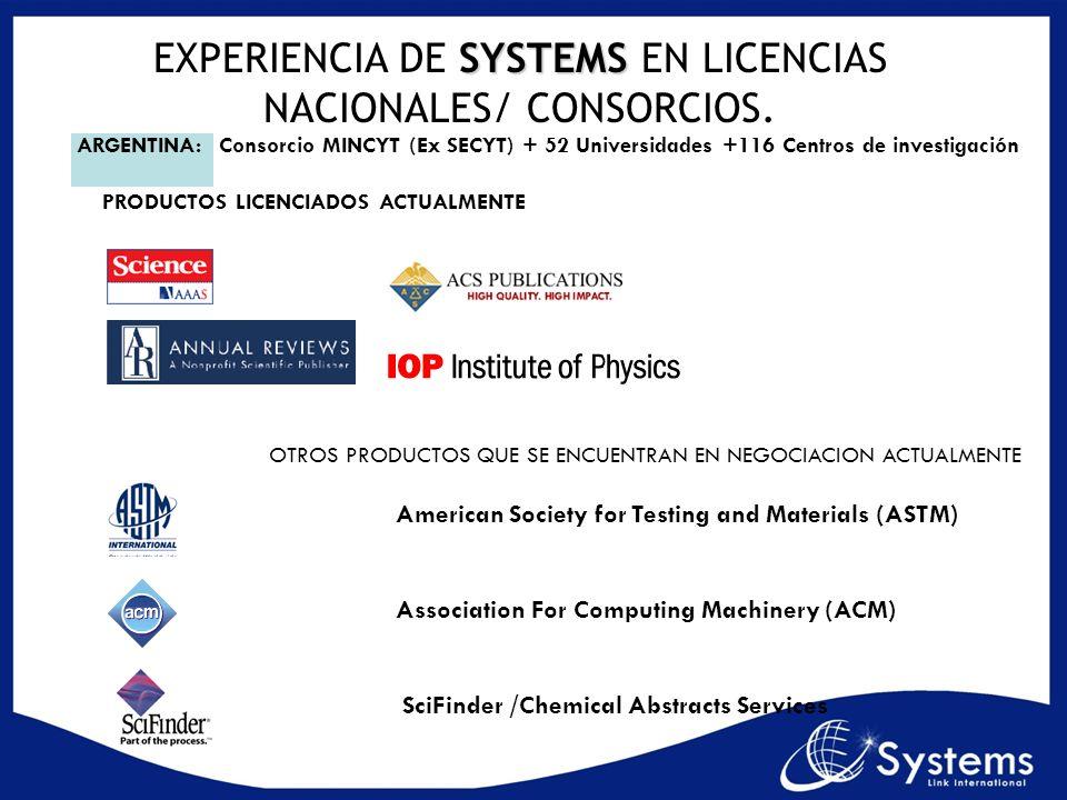 OTROS PRODUCTOS QUE SE ENCUENTRAN EN NEGOCIACION ACTUALMENTE American Society for Testing and Materials (ASTM) Association For Computing Machinery (AC