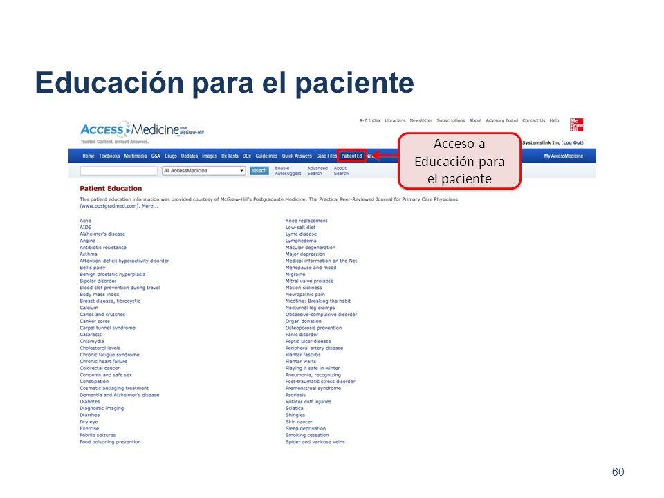 60 Educación para el paciente Acceso a Educación para el paciente