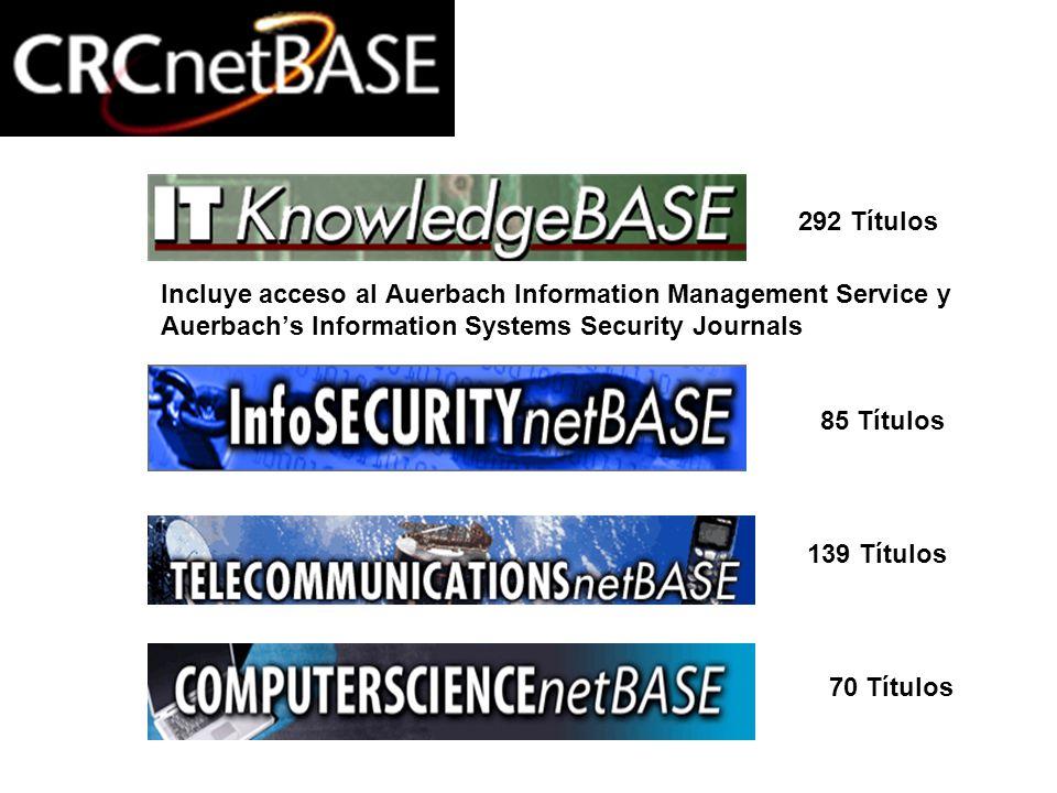 Computación e Informática Incluye acceso al Auerbach Information Management Service y Auerbachs Information Systems Security Journals 292 Títulos 85 T
