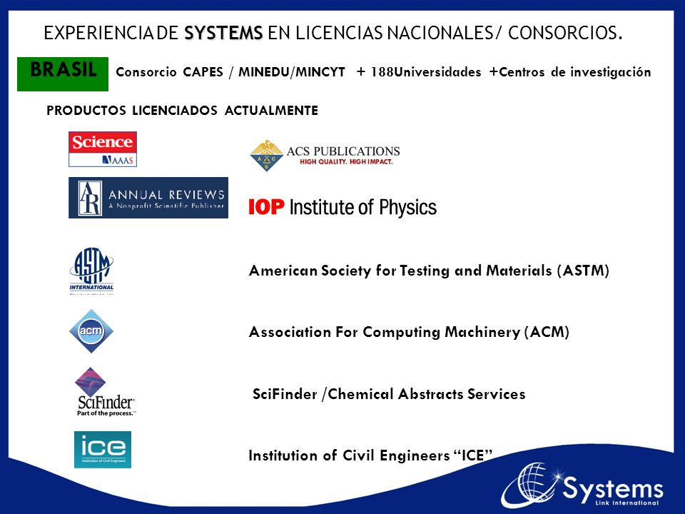 American Society for Testing and Materials (ASTM) Association For Computing Machinery (ACM) SciFinder /Chemical Abstracts Services Institution of Civi