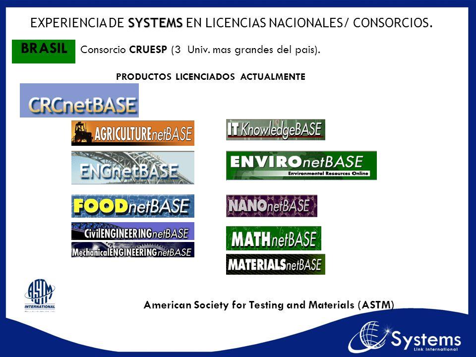 American Society for Testing and Materials (ASTM) SYSTEMS EXPERIENCIA DE SYSTEMS EN LICENCIAS NACIONALES/ CONSORCIOS. BRASIL Consorcio CRUESP (3 Univ.