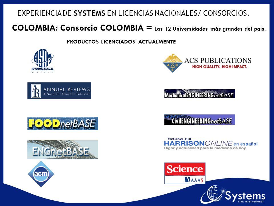SYSTEMS EXPERIENCIA DE SYSTEMS EN LICENCIAS NACIONALES/ CONSORCIOS. COLOMBIA: Consorcio COLOMBIA = Las 12 Universidades más grandes del pais. PRODUCTO
